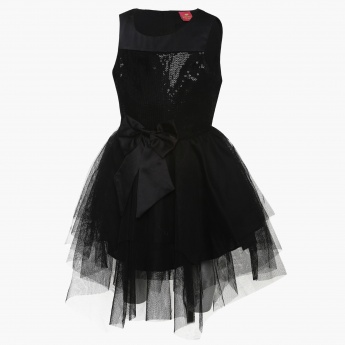 JUNIORS Sequinned Net Overlay Dress