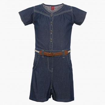 JUNIORS Belted Chambray Short Sleeves Jumpsuit