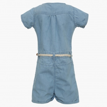 JUNIORS Belted Pocketed Romper