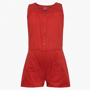 JUNIORS Sleeveless Solid Romper