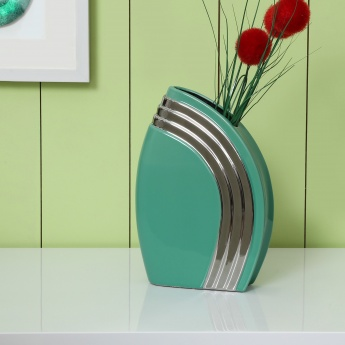 Splendid Teal And Silver Vase