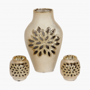 Brit-Fantasy Vase And 2 Tealight Holders