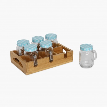 Peroni Wood 6 Mason Jar & Wooden Stand Set