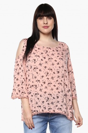 NEXUS Plus Size Floral Print Cold Shoulder Top  b9eb8f654
