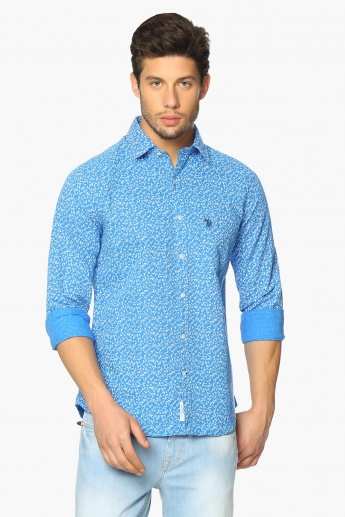 U.S. POLO ASSN. Printed Cotton Linen Shirt