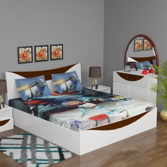 Adventure of U-tron Printed Double Kids Bedsheet Set- 3 Pcs.