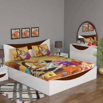 City Goes Wild Printed Double Kids Bedsheet Set- 3 Pcs.