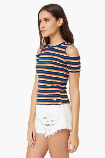 11e2b833fc70a1 ONLY Striped Cold Shoulder Top