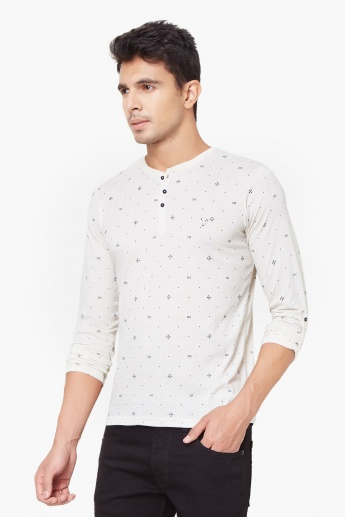 KILLER Printed Henley Neck T-Shirt