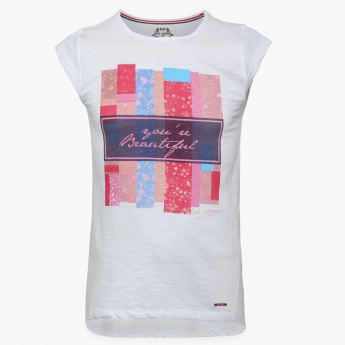 LEE COOPER JUNIORS Chest Imprint Round Neck Top