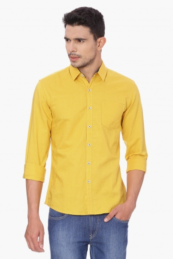 WRANGLER Solid Roll-Up Sleeves Shirt