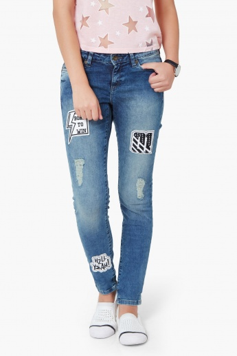 b57b825413 VERO MODA Distressed Patchwork Jeans
