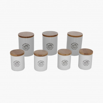 Mimosa Cannister With Stand- Set Of 7 Pcs.