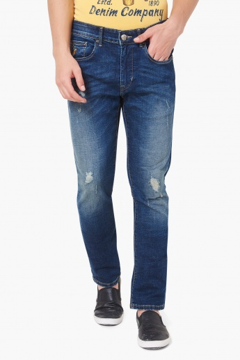 U.S. POLO ASSN. Brandon Distressed Low Rise Slim Fit Jeans
