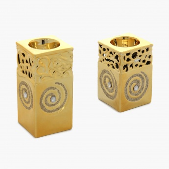 Brit-Fantasy Carved Light Holder- Set Of 2 Pcs.