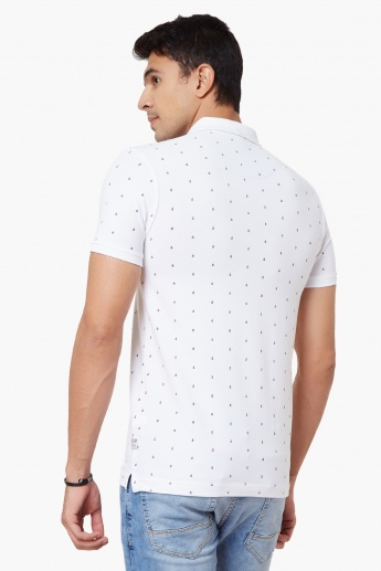 SPYKAR Printed Polo Neck T-Shirt