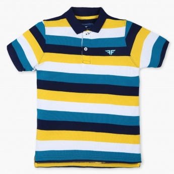FAME FOREVER Striped Pique Polo T-Shirt