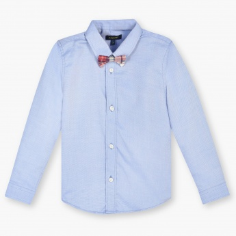 JUNIORS Solid Bow Tie Full Sleeves Shirt