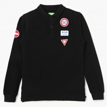 BOSSINI Patchworked Full Sleeves Polo T-Shirt