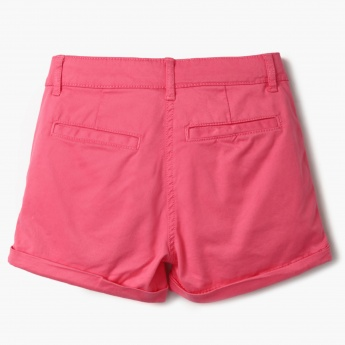 BOSSINI Solid Upturned Hem Chino Shorts