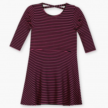 FAME FOREVER Striped Knitted Fit And Flared Dress