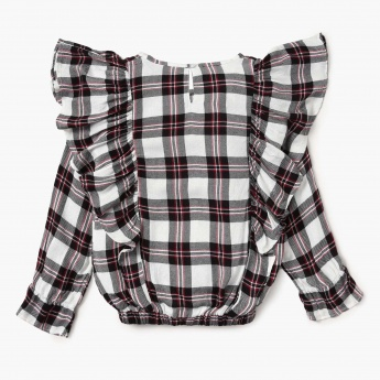 FAME FOREVER Checked Ruffle Detail Full Sleeves Top