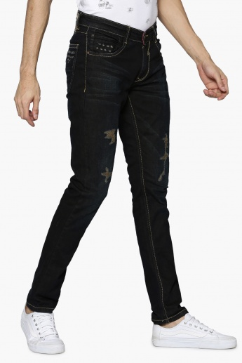 SPYKAR Dark Wash Distressed Jeans
