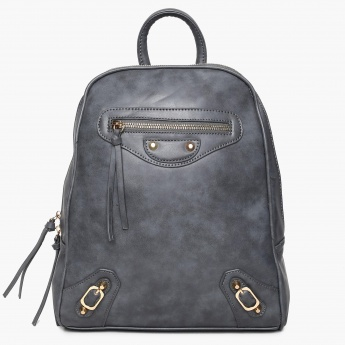 GINGER Solid Zip Closure Backpack
