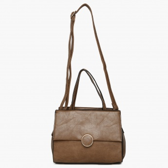 CODE Solid Zip Closure Shoulder Bag