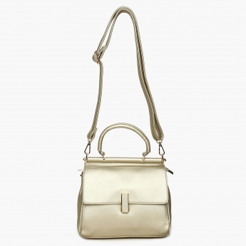 CODE Solid Flap Closure Shoulder Strap Handbag