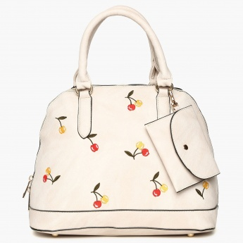 GINGER Embroidered Detail Zip Closure Shoulder Strap Handbag
