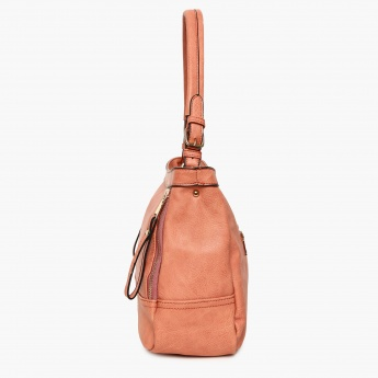 GINGER Solid Zip Closure Shoulder Strap Handbag
