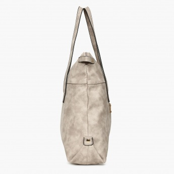 GINGER Solid Zip Closure Tote Bag