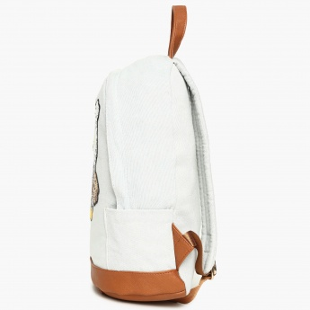 GINGER Sequinned Embroidered Details Zip Closure Backpack