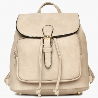 GINGER Solid Flap Closure Shoulder Strap Backpack