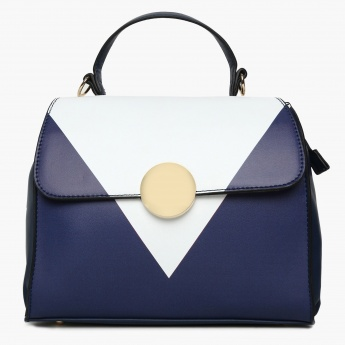 CODE Colourblocked Flap Closure Shoulder Strap Satchel