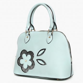 CODE Sequined Floral Applique Zip Closure Handbag