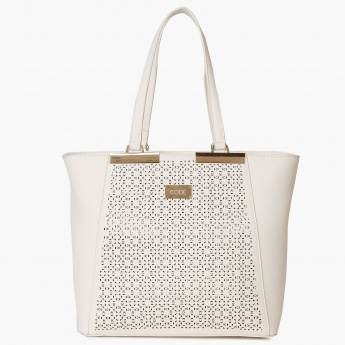 CODE Laser Cut Paneled Trapeze Hand Bag
