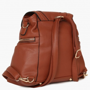 GINGER Textured Flap Closure Metallic Strip Backpack