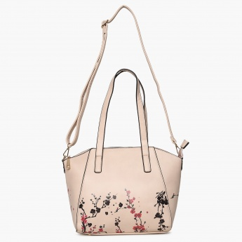 GINGER Printed Zip Closure Tote Bag