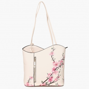 GINGER Floral Print Zip Detail Shoulder Bag