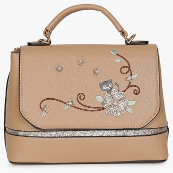 GINGER Floral Embroidered Trapeze Handbag
