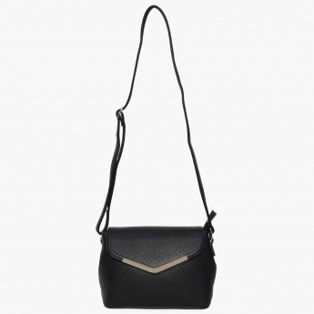 CODE Textured Flap Closure Sling Bag