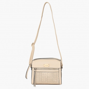 CODE Laser Cut Tassel Trimmed Hand Bag With Sling