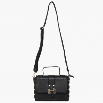 GINGER Studded Detail Flap Closure Structured Sling Bag