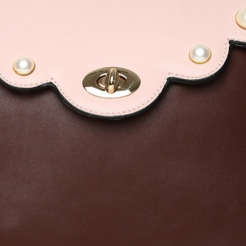 CODE Colourblocked Studded Detail Flap Closure Backpack