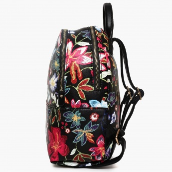 GINGER Embroidered Zip Closure Backpack