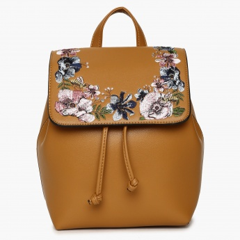 GINGER Floral Embroidered Drawstring Back Pack