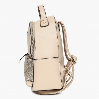 GINGER Shimmery Detail Zip Closure Backpack