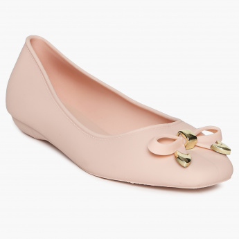 GINGER Solid Bow Detail Ballerina Flats